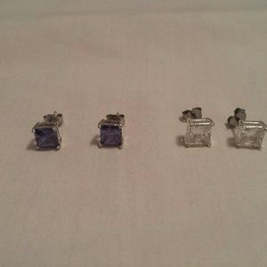 Jewelry - Set of two princess cut post earrings
